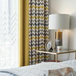 Image 2 - מודפס גיאומטרי גל blackout וילונות וילונות וילונות לסלון מודרני חדר שינה מטבח וילונות סתיו גל