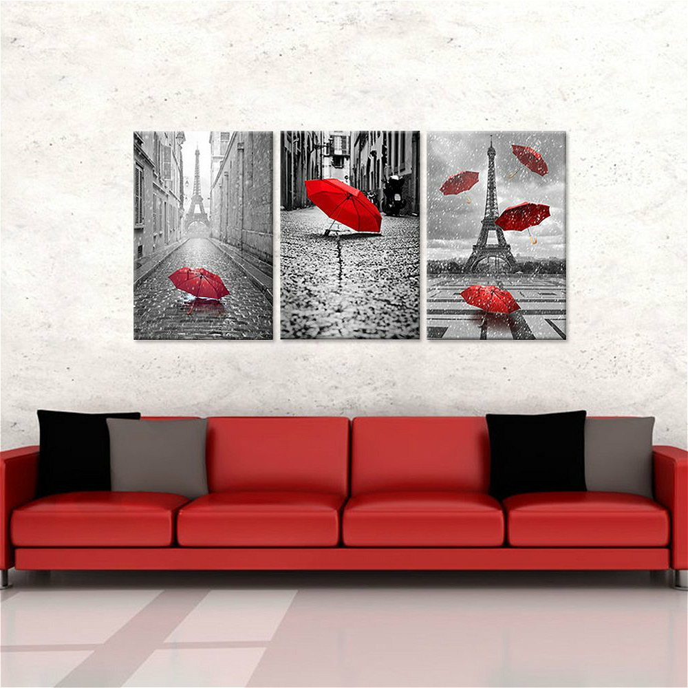 3 panels canvas prints wall art home decor paris black and white with eiffel tower red umbrella. Black Bedroom Furniture Sets. Home Design Ideas