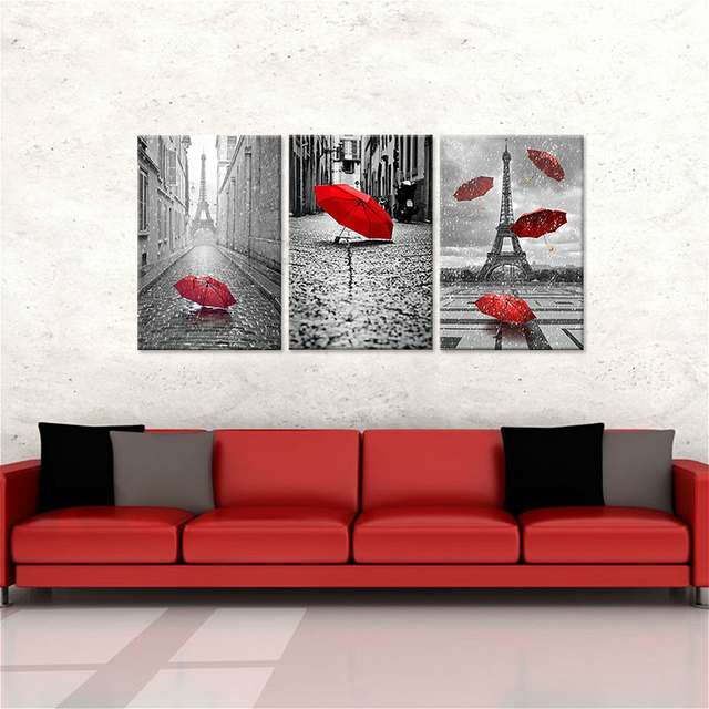 e8648bb2b Red Umbrellas Flying on the Rain Wall Decor Paris Tower 3 Panels Canvas  Prints Wall Art Home Decor Black and White Landscape