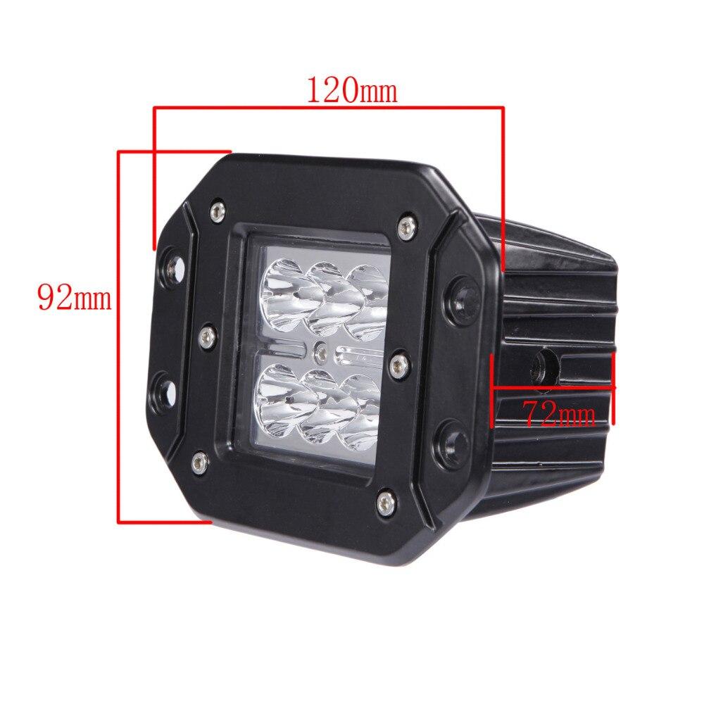 18W LED WORK LIGHT 12V 24V 4X4 Offroad FLUSH MOUNT Trailer Truck ATV - Ավտոմեքենայի լույսեր - Լուսանկար 5