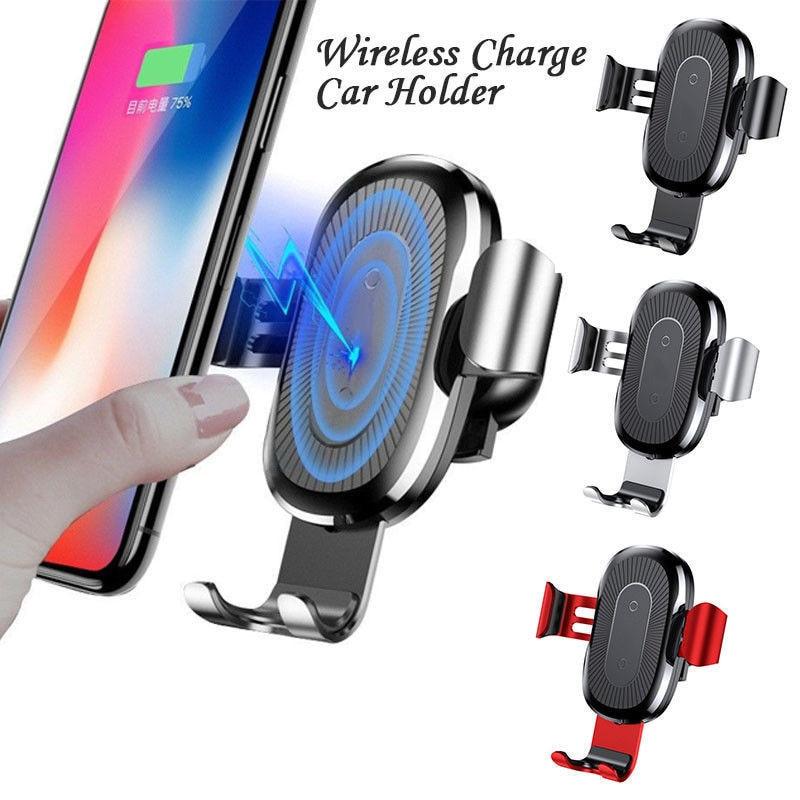 Chargeur de voiture rapide sans fil support de montage téléphone portable chargeur sans fil support de gravité en métal capteur infrarouge automatique de charge - 2