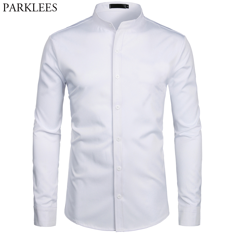 White Banded Collar Dress Shirt Men Slim Fit Long Sleeve Casual Button Down Shirts Mens Business Office Work Chemise Homme S-2XL