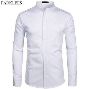 Image 4 - 와인 레드 슬림 맞는 드레스 셔츠 남자 브랜드 줄무늬 칼라 긴 소매 chemise 옴므 캐주얼 버튼 다운 셔츠 busienss 남자 S 2XL