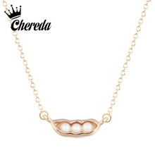 Chereda Three Pearl Pea Pendants Necklaces Gold Chian Choker For Women Necklace Fashion Cartoon collier femme