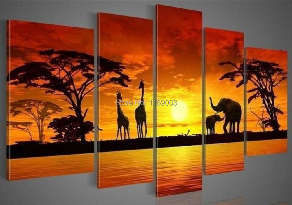 5 piece modern abstract canvas wall art handmade African