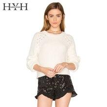 лучшая цена HYH HAOYIHUI  Brand Women White Casual Sweaters Long Sleeve O-neck Lace Up Shoulder Female Sweet Pullovers Elegant Sweater Lady