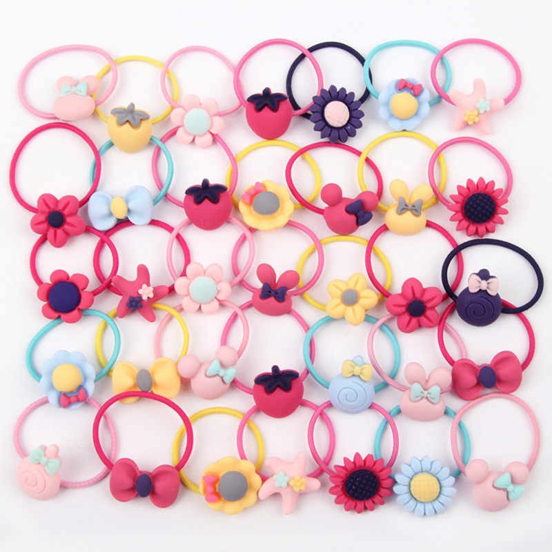 AKWZMLY New Fashion 40Pcs Girls Headband Bow Flower Rabbit Scrunchy Hair Accessories for Kids Hair Bands Rubber Gum Ornaments