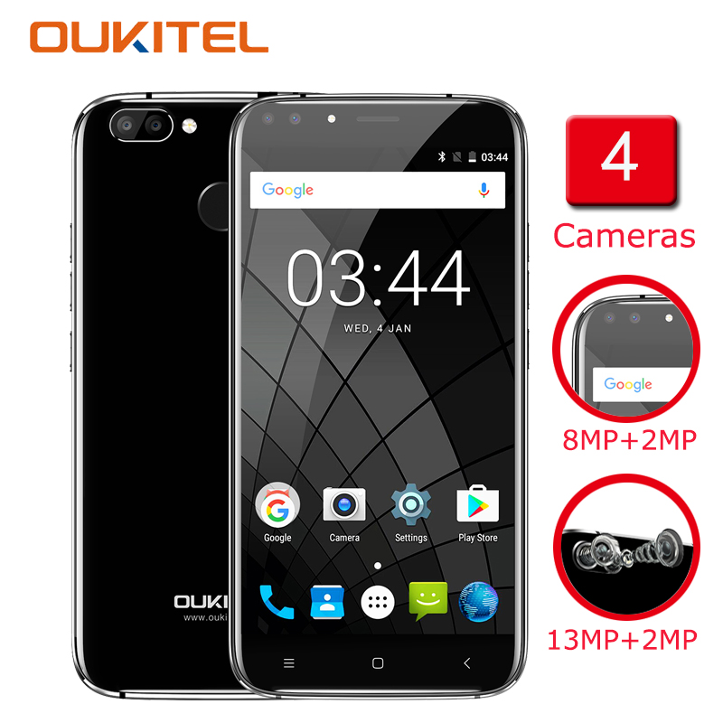 Oukitel U22 Smartphone 5.5 Inch 4 Cameras Android 7.0 2GB RAM 16GB ROM MTK6850 2700mAh Fingerprint Telefon Celular Mobile Phone