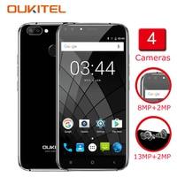 Oukitel U22 Smartphone 5.5 Inch 4 מצלמות אנדרואיד 7.0 2 GB RAM 16 GB ROM MTK6850 2700 mAh טביעת אצבע Telefon Celular סלולרי