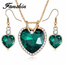 FAMSHIN 2018 Highend luxury 5 Color Love Crystal Heart Jewelry Sets For Women Necklace Earrings Jewellery Set New Bridal Wedding