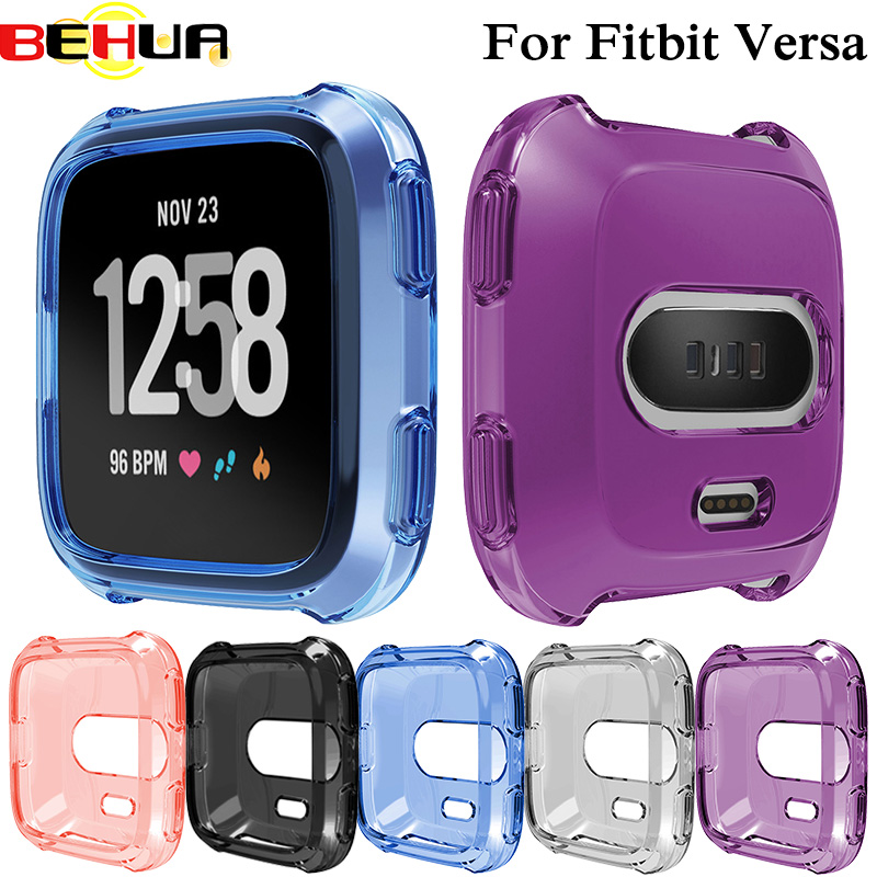 Soft Silicone Protective Case For Fitbit Versa Activity Smart Watch Accessories case Cover Shell Frame Full Protect Watch Cases soccer-specific stadium