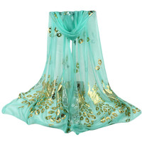 Women Summer Thin Scarf Peacock Long Soft Wrap Sto ...