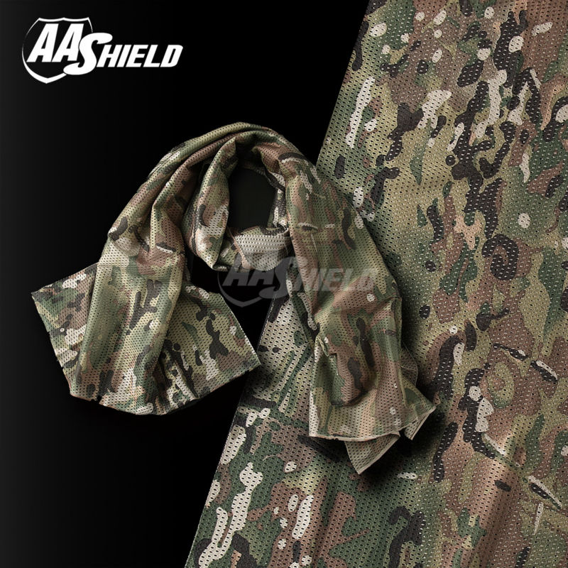 AA Shield Camo Tactical Scarf Outdoor Military Neckerchief Forest Hunting Army Kaffiyeh Scarf Light Weight Shemagh OCP protective outdoor war game eyeglass cover military tactical full face shield mask army green