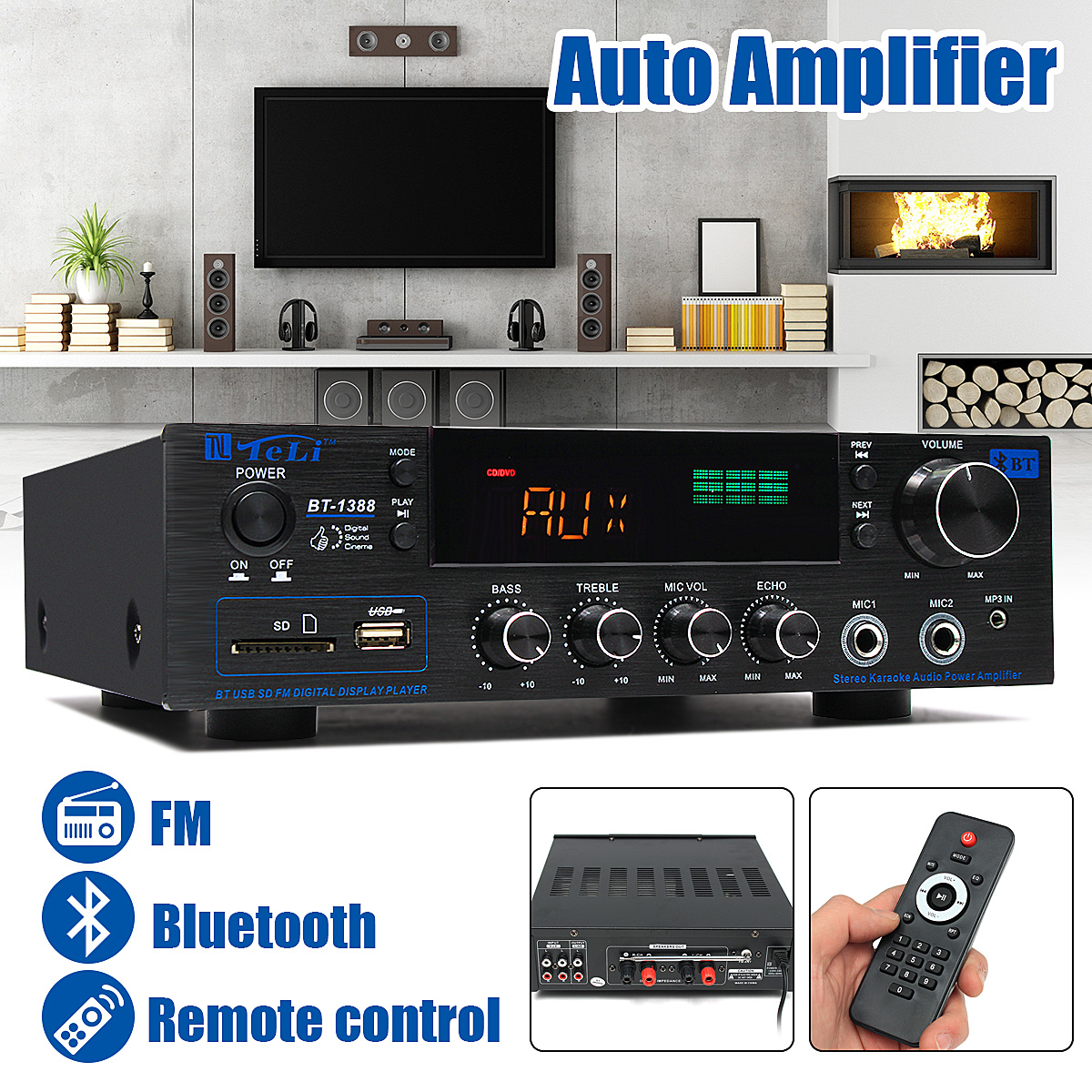400W Bluetooth Stereo 2.0 Amplifier HiFi Power Remote Control USB SD Aux Mic Input 2017 new music hall integrated hifi high power digital amplifier u disk sd card pc usb bluetooth 4 0 free shipping