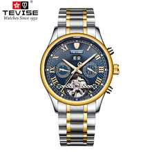 TEVISE Mens Automatic T806A Self-wind Wristwatches Week Display Auto Date Man Watches Complete Calendar Moon Phase Watch Relojes