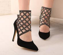 35-40 Size Women Summer Pumps Girl Cut-Outs Shoes Female Rhinestone Sandles Lady Pointed Toe Shoe Student Ultra Thin High Heel