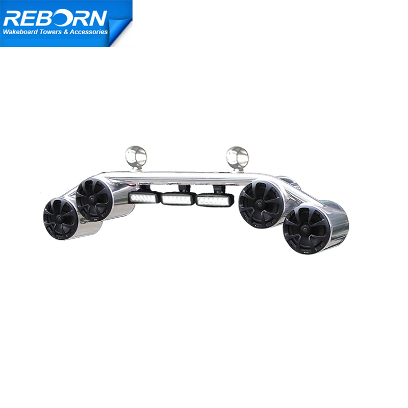 Reborn Boat Wakeboard Tower Speaker 4 Speakers And 3 LED Lights Combo Polished