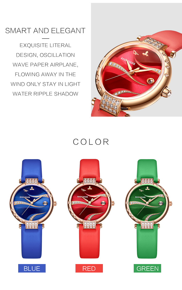 Reef Tiger/RT Women Fashion Rose Gold Case Stainless Steel Watch Analog Calendar Automatic Green Dial RGA1589 7