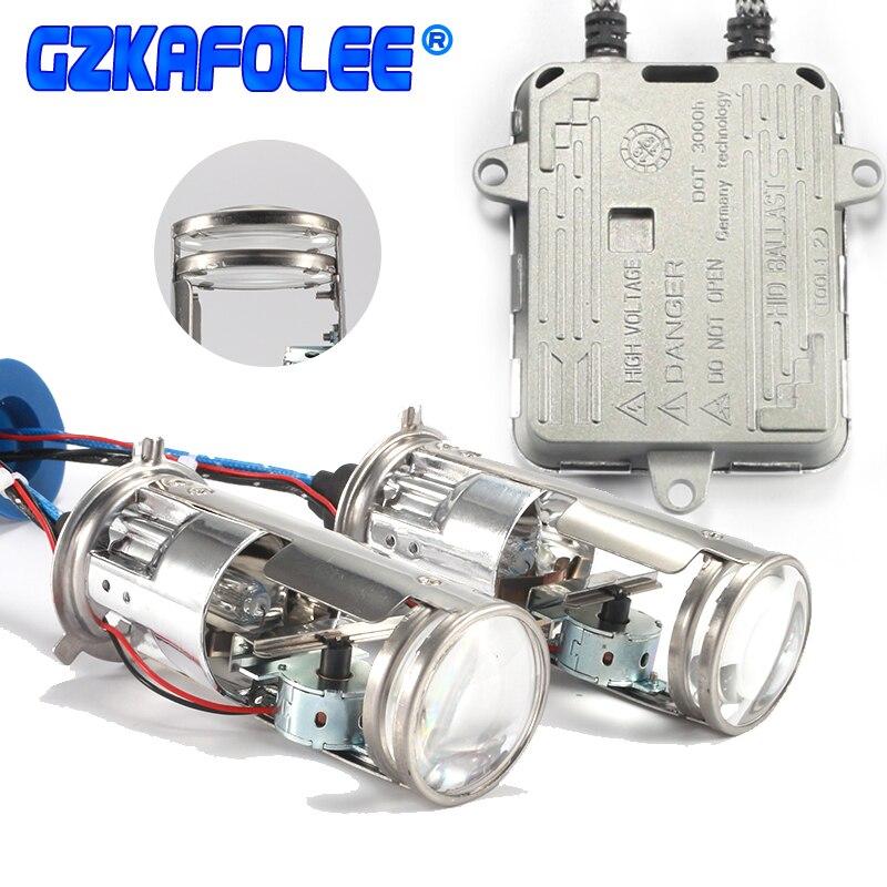 Ampoules de phare de voiture gzkafolee h4 xénon hid xénon sans perte Mini projecteur Double lentille phares 12 V 4300 K 6000 k 8000 k 55 W