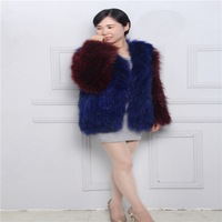 New women's fashion fur coat suede jacket fur woven jacket braid hair woven long sleeved jacket