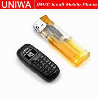 Uniwa mini telefone móvel l8star bm70 sem fio bluetooth fone de ouvido celular estéreo gsm desbloqueado telefone super fino gsm pequeno telefone