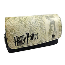 Anime Harry Potter Pen Pencil Bags PU Leather Nylon Purse Gift Cosmetic Bag