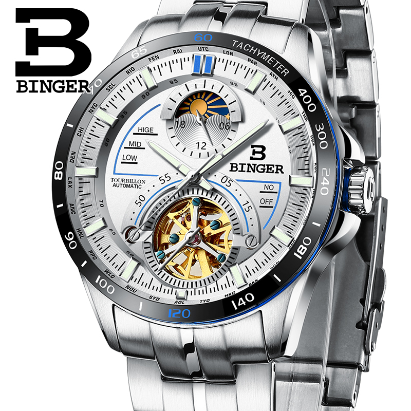 Switzerland BINGER Watch Men Luxury Brand Mens Watches Tourbillon Automatic Mechanica Wristwatch Sapphire reloj hombre B-MS10001 luxury brand watches for men binger dress watch casual crystal automatic wrist steel wristwatch relogio feminino reloj