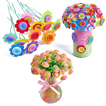 DIY Iron Wire Button Felt Bouquets Kit Handmade Buttons Flowers for Kids Crafts