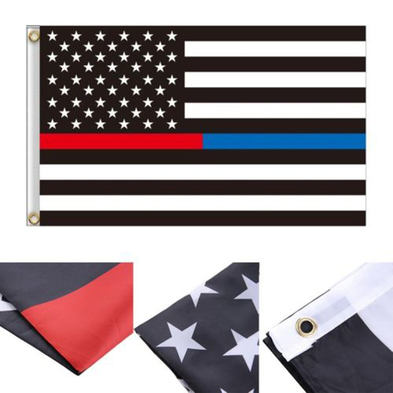 Blue Line usa Police Flags 90x150cm Thin USA Flag Black White And line With Grommets Epacket Drop Shipping