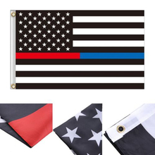 Blue Line usa Police Flags 90x150cm Thin Blue Line USA Flag Black White And Blue line Flag With Grommets Epacket Drop Shipping