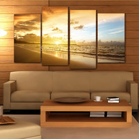 Unframed 4 Pieces Ocean Sunset Canvas Painting Modular Pictures Wall Art Home Decor For Living Room In High Quality