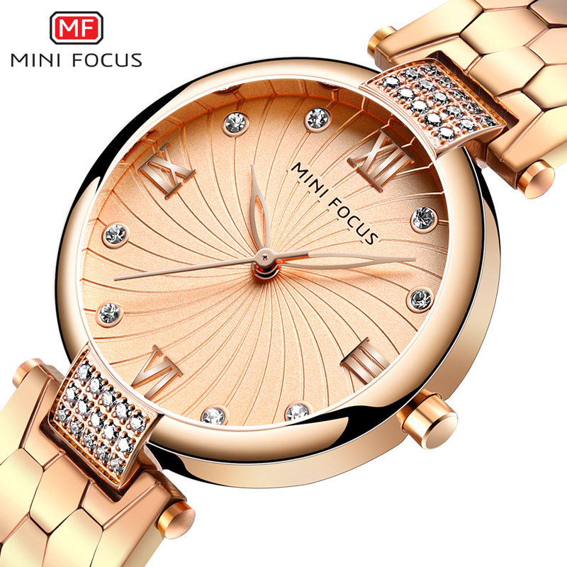 MINI FOCUS Brand Luxury Fashion Watches Women Quartz Lady Watch Womens Wristwatch Ladies Relogio Feminino Montre Femme Rose Gold