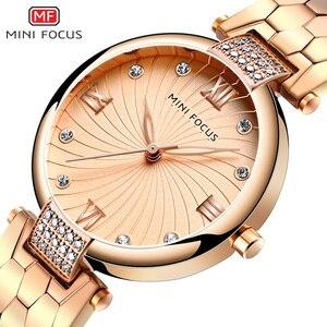 Image 2 - MINI FOCUS العلامة التجارية الفاخرة موضة ساعات نسائية كوارتز سيدة ساعة اليد النسائية السيدات Relogio Feminino Montre فام الذهب الوردي