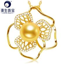 где купить [YS] 10-11mm Real Round South Sea Pearl Pendant 925 Sterling Silver Necklace For Women по лучшей цене