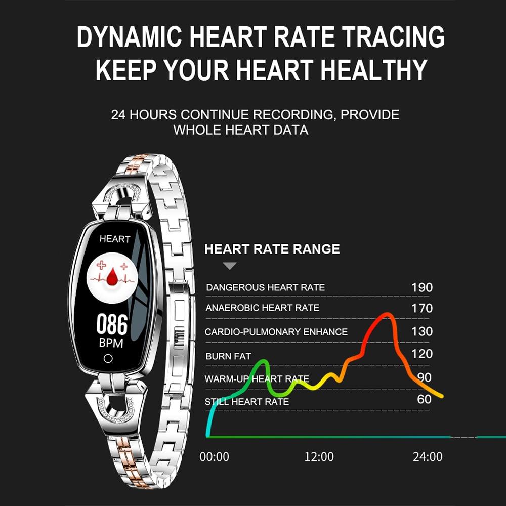 H8 reloj inteligente de las mujeres 2019 impermeable Monitorización del ritmo cardíaco Bluetooth para Android IOS pulsera reloj envío de la gota