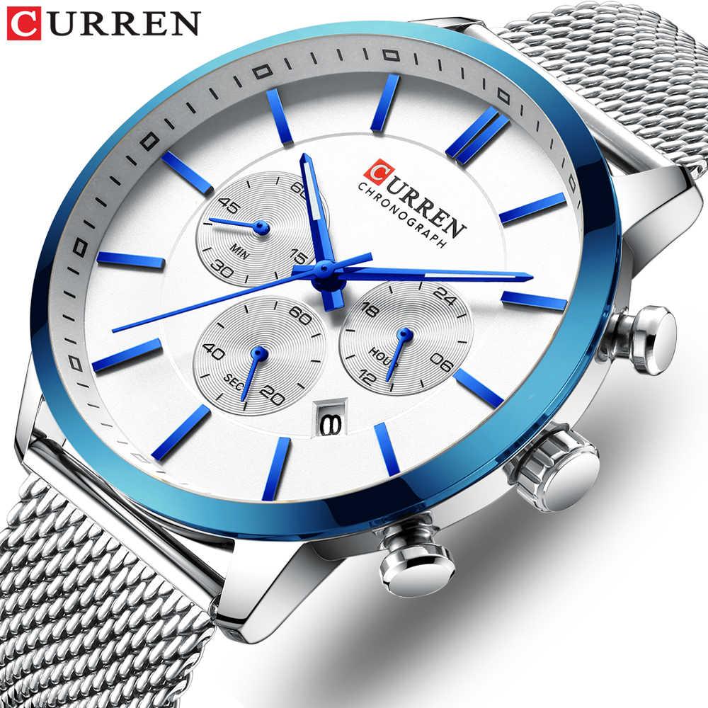 CURRENนาฬิกาผู้ชายนาฬิกาแฟชั่นผู้ชายลำลองนาฬิกาข้อมือควอตซ์กันน้ำสีฟ้านาฬิกาRelogio Masculino