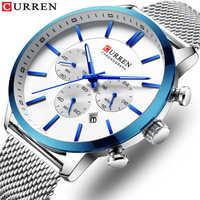 Reloj CURREN de moda para hombre, relojes de negocios, reloj de pulsera de cuarzo a prueba de agua, reloj de acero azul, reloj Masculino