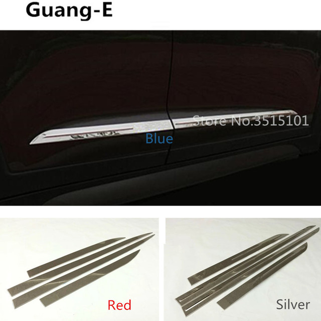 Car Styling Cover Stainless Steel Side Bottom Door Trim Frame Stick Strips  Molding Bumper 4pcs For