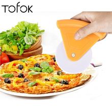 Tofok Pizza Knife Round Shape Hob Handheld Bread Pie Cutter Rolling Wheels Plastic Baking Pastry  DIY Kitchen Cake Decor Tools