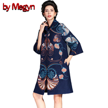 by Megyn 2017 Winter Women Wool Blends Trench Overcoat Fashion Vintage Embroidery Floral Pattern Coats Plus