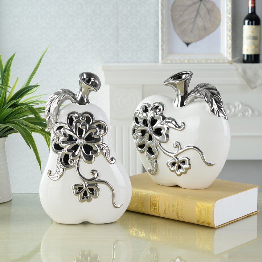 Modern Apple pear minimalist Ceramic Crafts Hollow flower Figurines Miniatures Furnishing Articles home decoration accessories in Figurines Miniatures from Home Garden