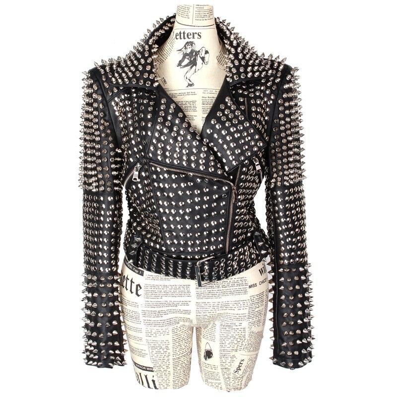 Oberbekleidung Verzierte Ganzk Schwarz Pu Nieten Streetwear Jacken Mode Roll rper Luxus Lamm Falsche D134 2018 Jacke Rock Frauen Sexy Punk CtQshdr