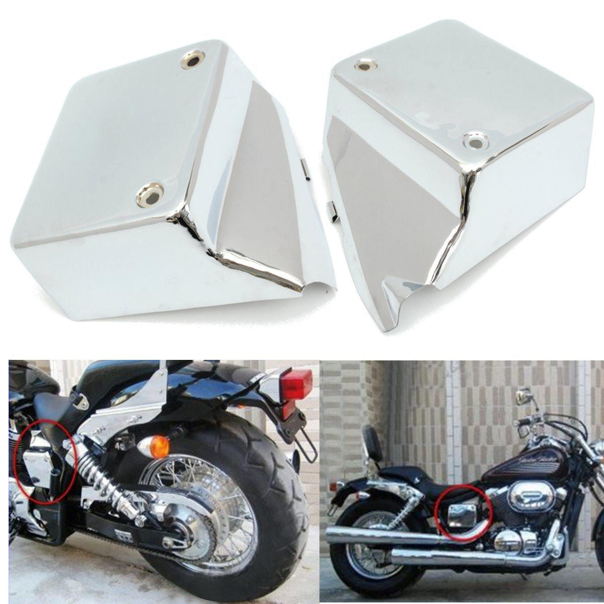 Motorcycle Left+Right Battery Side Metal Cover For Honda for Shadow for Spirit VT750 DC 2000 2009/for Black for Widow 2000 2007