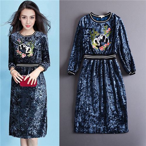 autumn 2017 new woman fashion grey panda banboo embroidered three-quarter sleeve velvet dresses blue free shipping plus size xl шайба diffusor sh50 14m