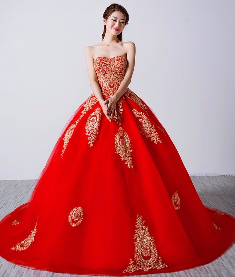 Online Buy Wholesale red ball gown wedding dress from China red ...