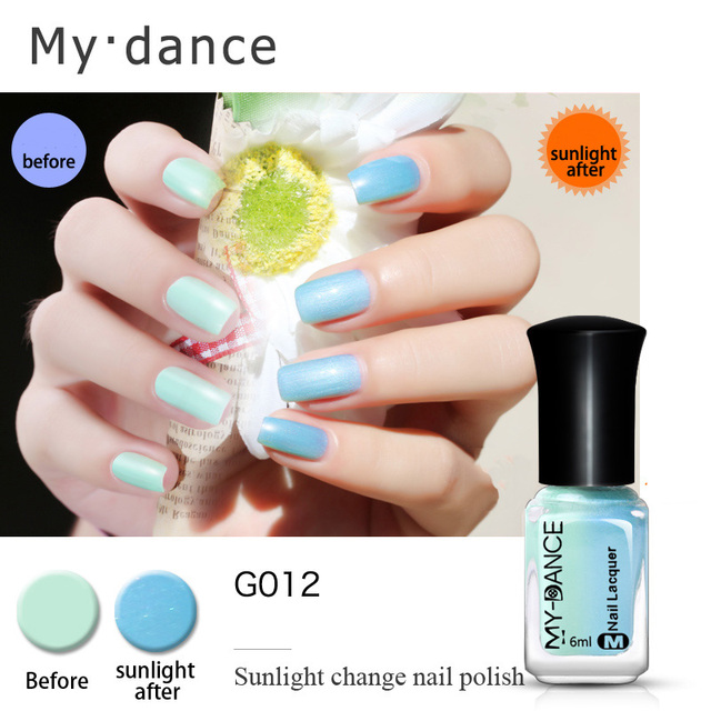 Mydance Sunlight Color Change Nail Polish Water Based Varnish Thermal Changing Long Lasting Lacquer