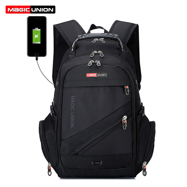 MAGIC UNION Laptop Bag Male External USB Charge Backpacks Anti-theft Waterproof Backpack Clutch Bag Set with Lock Raincover 1