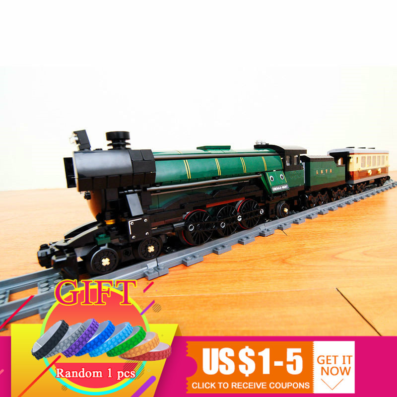 21005 1085Pcs Technical Series Emerald Night Train set Compatible with 10194 Model Building blocks Kit Brick children DIY toys train set building blocks early educational diy brick toys for children compatible with legoings juguetes