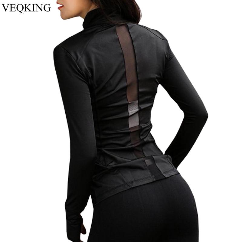 VEQKING Yoga Jacket Sport-Shirt Long-Sleeve Women New Mesh Breathable Splice