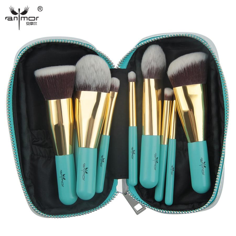 Anmor Travelling Makeup Brushes 9 PCS Synthetic Hair Makeup Brush Set With Portable Bag GM001 anmor high quality 26 pcs professional makeup brush set goat hair cosmetic brush set with brush bag bz002